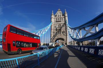 Fototapeta na wymiar Tower Bridge with red bus in London, UK