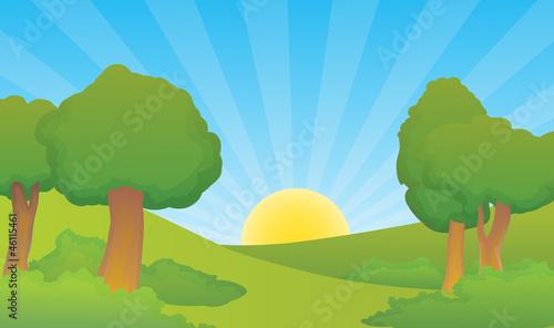 natural morning forest village scene