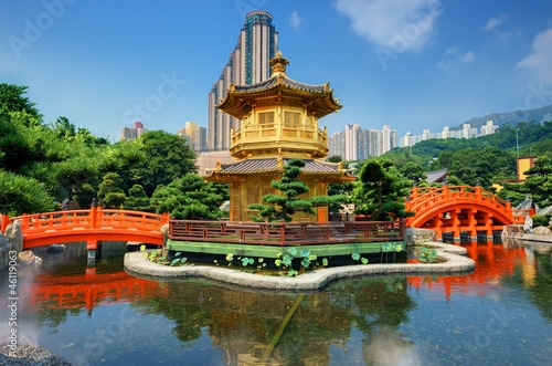 Nan Lian Garden's Golden Pavilion in Hong Kong Canvas Print