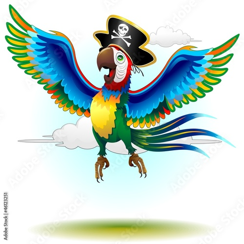 Photo Stands Draw Happy Jumping Pirate Macaw Cartoon-Pappagallo Pirata-Vector
