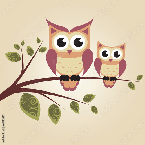 Canvas Prints Owls cartoon Two owls on the tree
