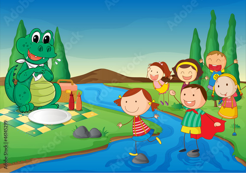 Tuinposter Dinosaurs a river, a dinosaur and kids
