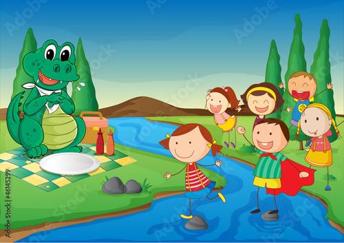 Keuken foto achterwand Dinosaurs a river, a dinosaur and kids