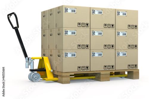 Fotografie, Obraz  Handhubwagen mit Palette voller Kartons