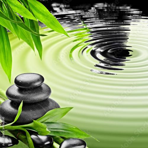 Nowoczesny obraz na płótnie Kamienie ZEN z zielonymi liśćmi nad wodą