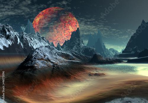 3D Rendered Fantasy Landscape On An Alien Planet