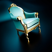 Blue And Gold Vintage  Ornate Chair