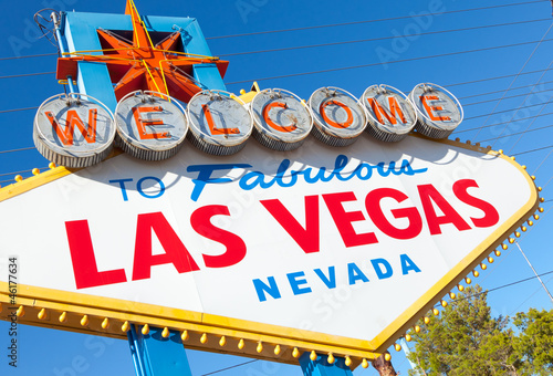 Welcome to Las Vegas Nevada sign on a sunny afternoon