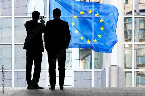 Foto op Canvas Brussel Two employees of the European Communities.