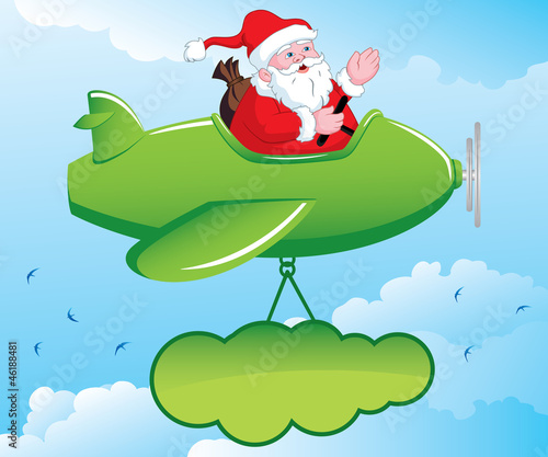 Wall Murals Airplanes, balloon Santa in Aeroplane