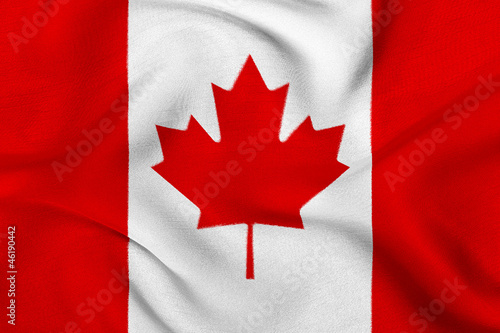 Spoed Foto op Canvas Canada Fabric texture of the flag of Canada