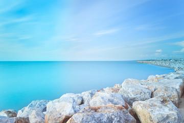 San Vincenzo harbor rocks bay. Long exposure photography. Tuscan