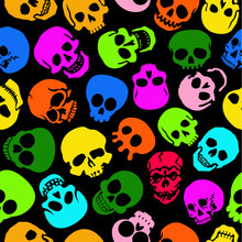 Colorful Skulls Seamless Pattern In Black Background