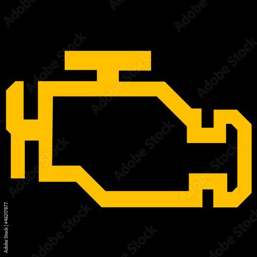 Check Engine Or Malfunction Car Symbol On Black Background Buy