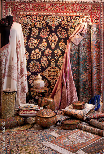 display of carpet and beautiful fabric Canvas Print