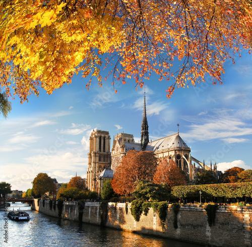 Fotografia  Notre Dame with boat on Seine in Paris, France