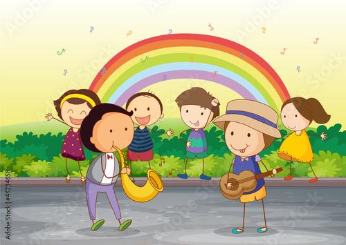 Foto op Canvas Regenboog kids