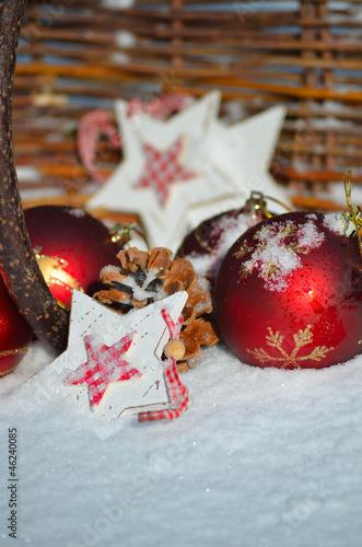 Foto-Leinwand ohne Rahmen - Weihnachten Dekoration im frischen Schnee (von sonne_fleckl)