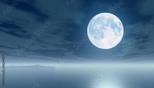 Poster Pleine lune Moon over the sea