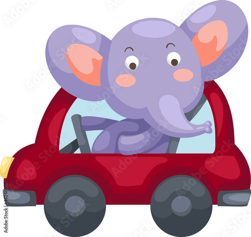 Recess Fitting Cars cartoon elephant vector illustration