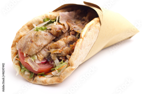 Staande foto Snack close up of kebab sandwich
