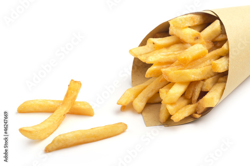paper cone with fries on white background Fototapet