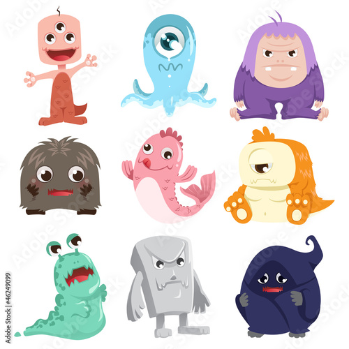 Poster de jardin Creatures Cute monsters characters