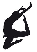 Dancer Silhouette On A White Background