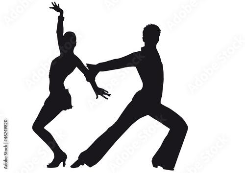 Cuadros en Lienzo Silhouette of dancers Latin-American dances