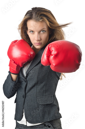 Láminas  Young businesswoman in boxing concept