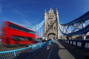 Fototapeta na wymiar Tower Bridge with bus in London, England