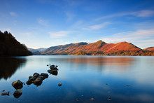 Derwentwater View Looking Towards Catbells In The English Lake District National Park