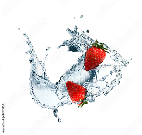 Poster Eclaboussures d eau Strawberry In Water