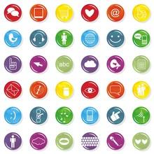 Zestaw Kolorowych Ikon Internet Społeczność łączność