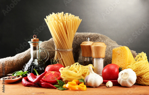 Photo Stands Herbs 2 Pasta spaghetti, vegetables and spices,