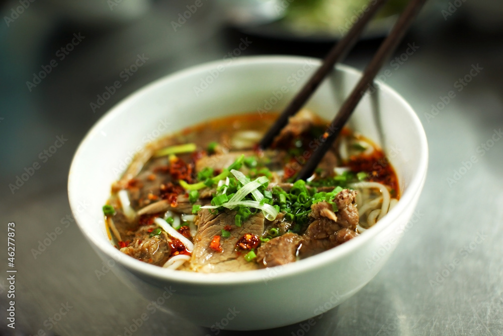 Photo  Vietnamese beef soup called pho