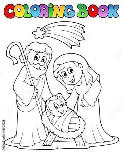 Tuinposter Doe het zelf Coloring book Nativity scene 1