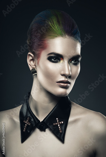 Fototapety, obrazy: woman with coloured hair