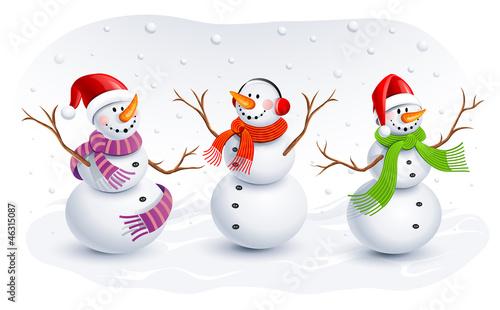 Fotografie, Obraz  Funny Snowmen. Vector illustration