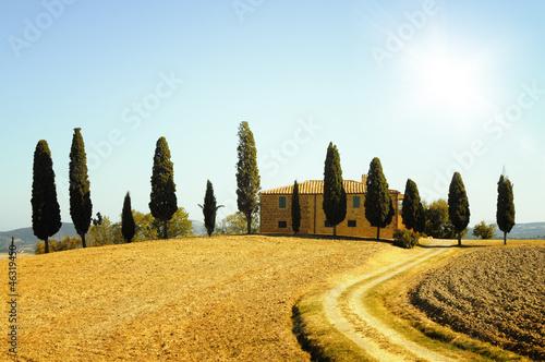 Deurstickers Toscane Tuscany farm