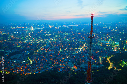 Aerial view of Seoul at night Poster