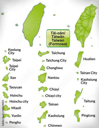 Fotografía  Übersichtskarte von Taiwan mit Grenzen