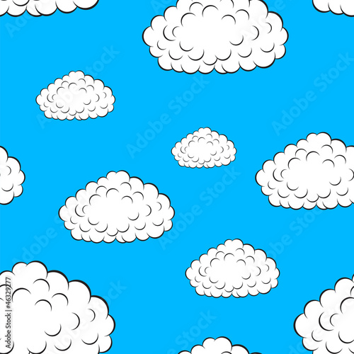 Tuinposter Hemel clouds seamless wallpaper, vector illustration