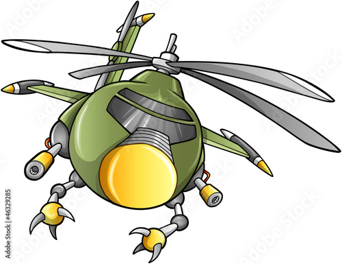 Poster Military Robot Army Helicopter Vector