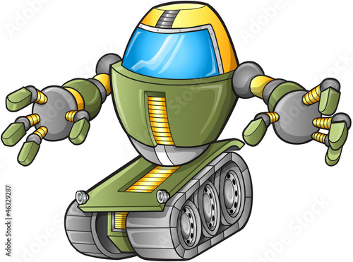 Poster Cartoon draw Evil Robot Tank Vector