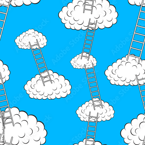Garden Poster Heaven Clouds with stairs, seamless wallpaper