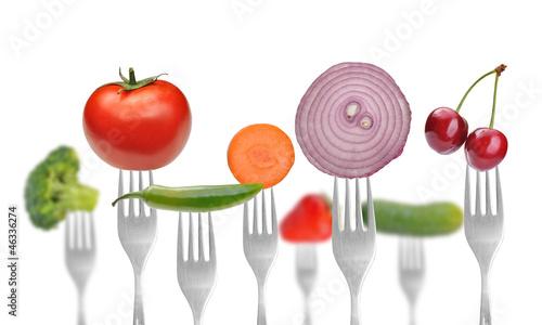 Printed kitchen splashbacks Fresh vegetables vegetables and fruits on the collection of forks, diet concept