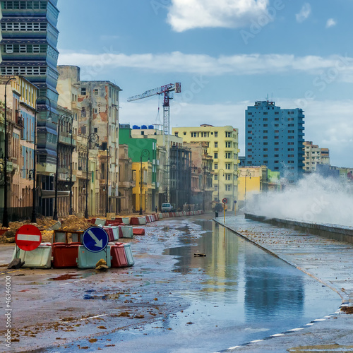 Recess Fitting Havana Storm in Havana with waves crashing against the sea wall