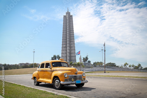 Canvas Prints Cars from Cuba Classic yellow DeSoto oldtimer car, Havana, Cuba