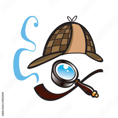 Fotografía  Detective hat, lens and smoking pipe